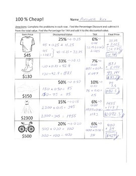 Percentages and Decimals (Sales and Taxes)