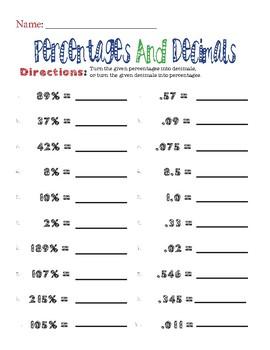 Percentages and Decimals Worksheet