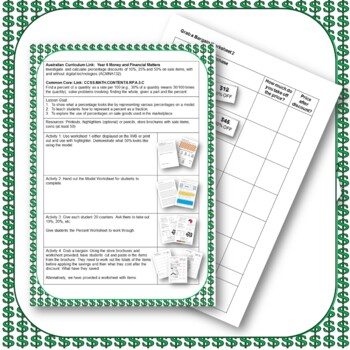 Percentages and Discounts Lesson Plan and Worksheets