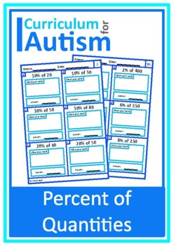 Percent of Numbers Worksheets  Middle School Math, Autism,