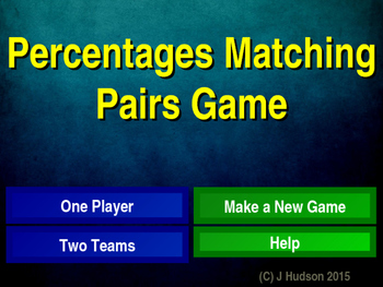 Percentages to Decimals Interactive Matching Pairs Game
