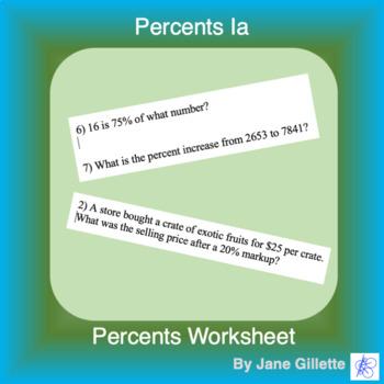 Percents 1a: Mix of percent problems