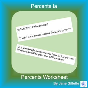 Percents 1a: Mix of percent problems