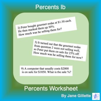 Percents 1b: Mix of percent problems