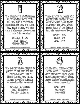 Percents Activity: Percents Word Problems Color-by-Number (6.RP.3)