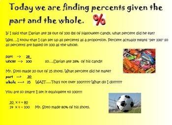 Percents Applications Smartboard Lesson Practicing Percent Word Problems