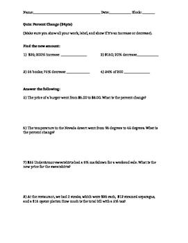 7.RP.3 7.EE.2 Common Core 7 Percents Assessment Quiz