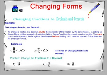 Percents Changing Forms
