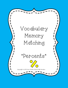 Percents, Discount, Gratuity Vocabulary Memory Match Game/Activity