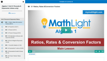 Percents & Exponents   Algebra 1 Unit with Videos
