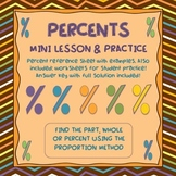 PERCENT NOTES, REFERENCE & PRACTICE WORKSHEETS- PROPORTION