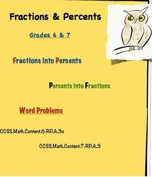 Percents & Fractions - Grades 6 & 7