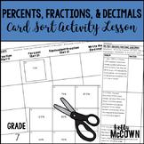 Percents, Fractions, and Decimals Card Sort Activity Lesson