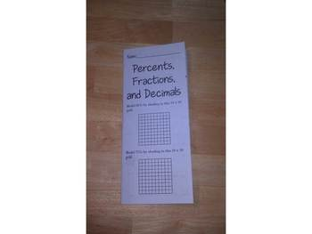Percents, Fractions, and Decimals Print n' Fold (Foldable) Interactive Notebook