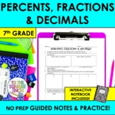 Percents, Fractions and Decimals Notes