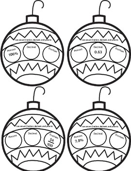 Percents, Fractions, and Decimals Ornaments