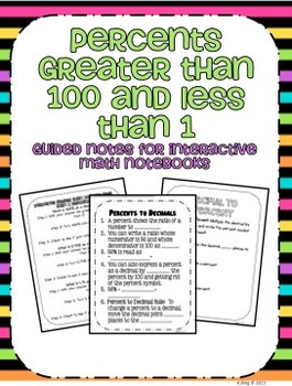 Percents Greater than 100 or Less than 1 Notes | TpT