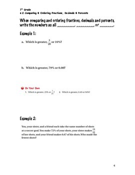 Percents Guided Notes Big Ideas Math Red: 7th Grade Chapter 6