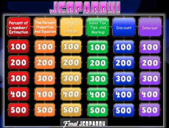Percents Jeopardy Review Game! Middle School Math