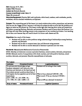 Percents Lesson Plan and Worksheets
