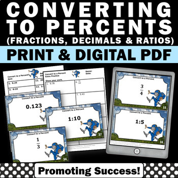 40 Converting Fractions to Decimals to Percents, 5th Grade Fraction Task Cards