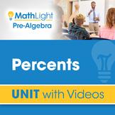 Percents | Pre Algebra Unit with Videos | Good for Distanc