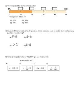Percents Quiz - Finding Part, Whole, and Percent