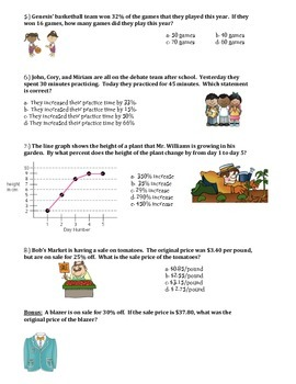 Percents Quiz or Review  7th Grade Math
