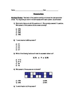 Percents Quiz