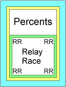 Percents - RELAY RACE Game (5 rounds of 9 problems)