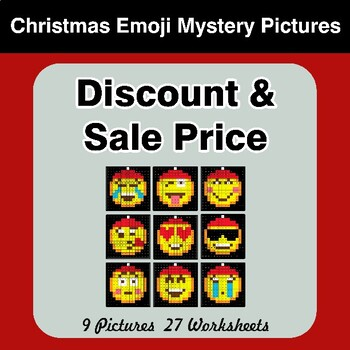 Percents - Sale Price, Discount, Savings - Christmas Emoji Mystery Pictures