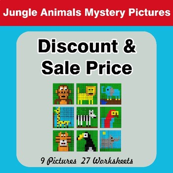 Percents - Sale Price, Discount, Savings - Color By Number - Jungle Animals