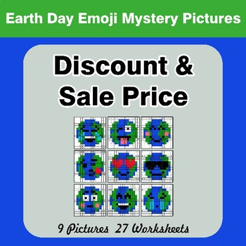 Percents - Sale Price, Discount, Savings - Earth Day Emoji Mystery Pictures