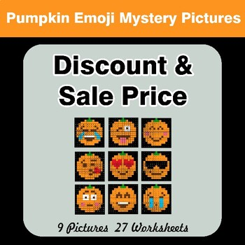 Percents - Sale Price, Discount, Savings - Halloween Emoji Math Mystery Pictures