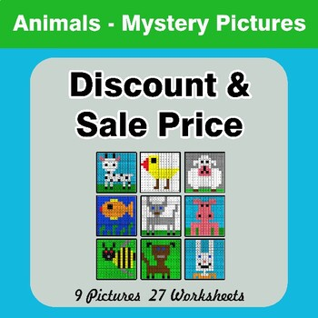 Percents - Sale Price, Discount, Savings - Math Mystery Pictures - Animals
