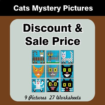 Percents - Sale Price, Discount, Savings - Math Mystery Pictures - Cats