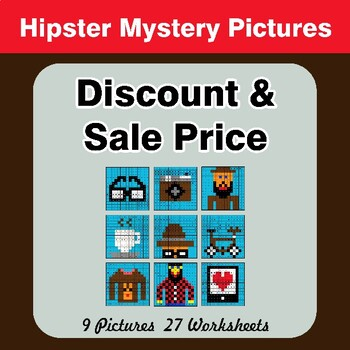 Percents - Sale Price, Discount, Savings - Math Mystery Pictures - Hipsters