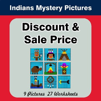 Percents - Sale Price, Discount, Savings - Math Mystery Pictures - Indians