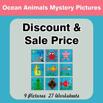 Percents - Sale Price, Discount, Savings - Math Mystery Pictures - Ocean Animals