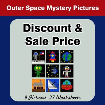 Percents - Sale Price, Discount, Savings - Math Mystery Pictures - Outer Space