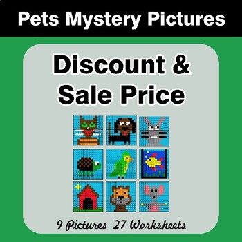 Percents - Sale Price, Discount, Savings - Math Mystery Pictures - Pets