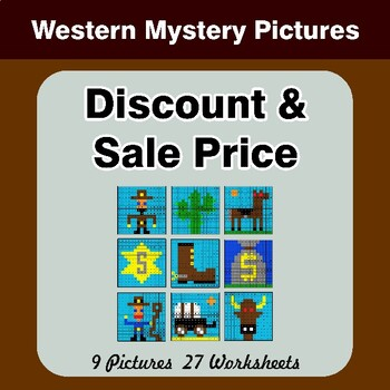 Percents - Sale Price, Discount, Savings - Math Mystery Pictures - Western