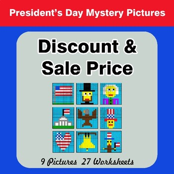 Percents - Sale Price, Discount, Savings - President's Day Math Mystery Pictures