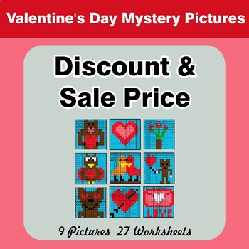 Percents - Sale Price, Discount, Savings - Valentine's Day Math Mystery Pictures