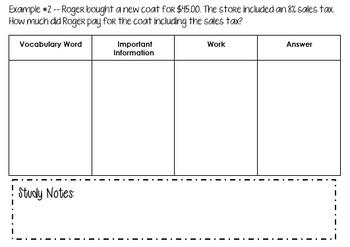 Percents - Sales Tax Lesson, Worksheet, Exit Slip