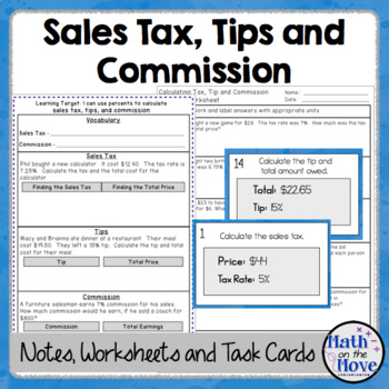 Percents - Sales Tax, Tips, and Commission - Notes and Worksheet