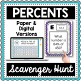 Percents Scavenger Hunt-Percent Proportion or Percent Equation 7.RP.A.3,6.RP.A.c