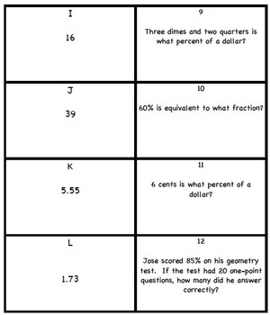 Percents Scavenger Hunt/Matching Activity 6.RP.3c