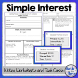 Percents - Simple Interest - Notes, Task Cards, and a Problem Solving Worksheet