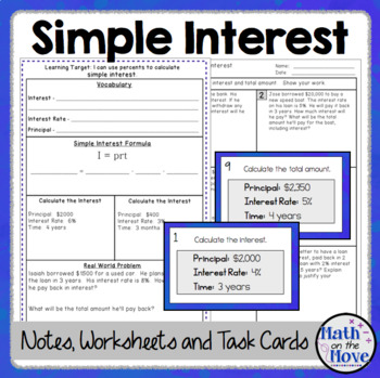 Percents Simple Interest Notes Task Cards And A Problem